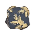 PORTMEIRION PIMPERNEL Etched Leaves Coasters S/6 - Navy