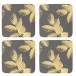 PIMPERNEL PIMPERNEL Etched Leaves Coasters S/6 - Dark Grey DISC
