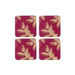 PIMPERNEL PIMPERNEL Etched Leaves Coasters S/6 - Pink DISC
