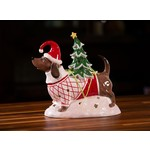 BLUE SKY CLAYWORKS BLUE SKY Red Dachshund with Tree Candle House