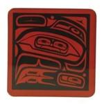 MARK GARFIELD Raven Coaster Set - Red / Black
