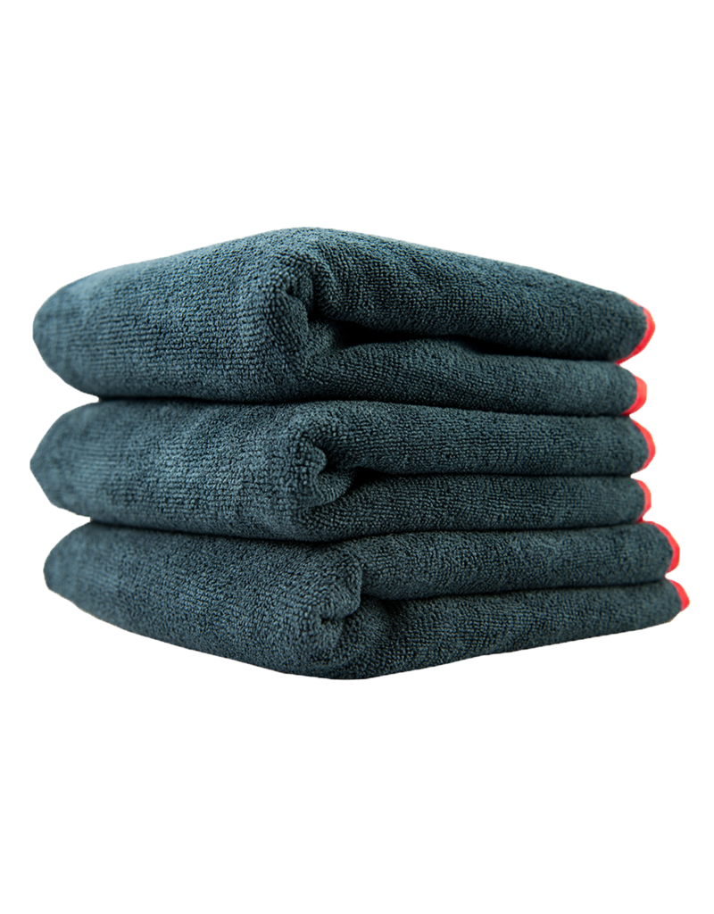 Chemical Guys MIC_508_03 Microfiber Towels 16X16 Heavy Black Towel, With Red Silk Edges - (3pcs/Bag) - 1Unit