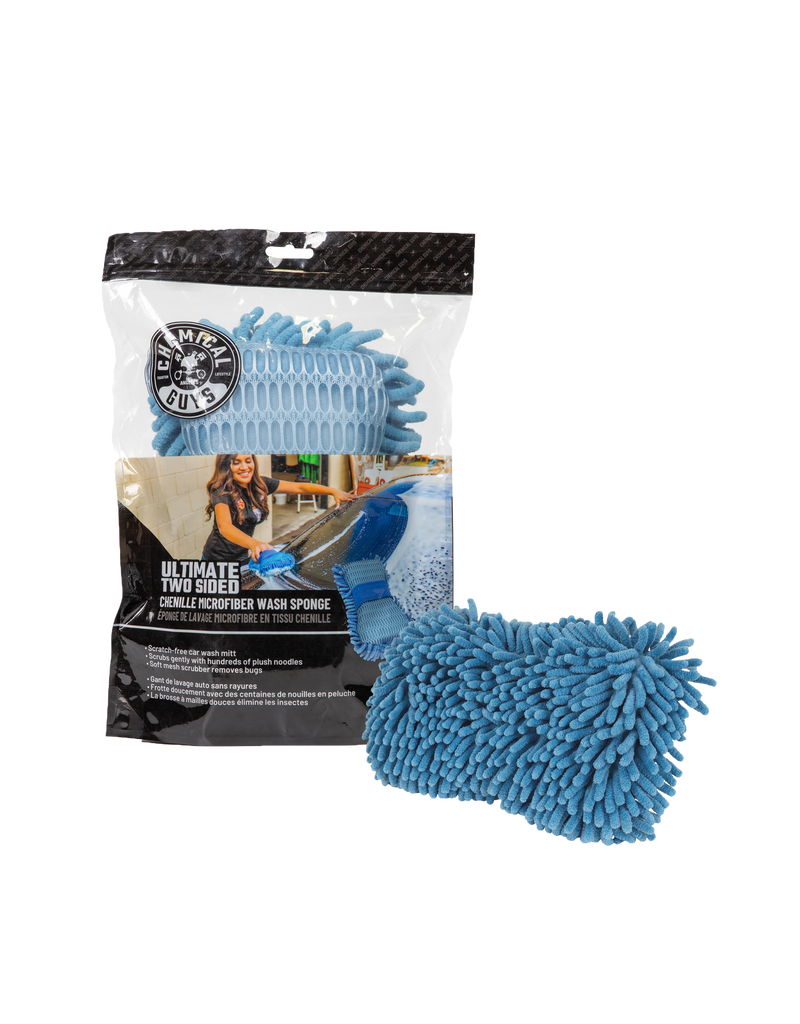 Chemical Guys MIC495  Ultimate Two Sided Chenille Microfiber Wash Sponge, Blue