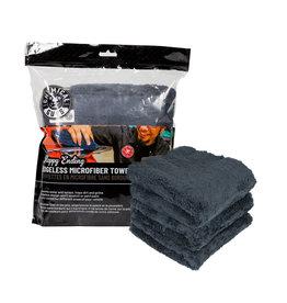 Chemical Guys Happy Ending Ultra Plush Edgeless Microfiber Towel, Black 16'' x 16'' (3 Pack)