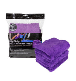 Chemical Guys Happy Ending Ultra Plush Edgeless Microfiber Towel, Purple 16'' x 16'' (3 Pack)