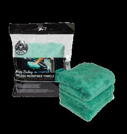 Chemical Guys Happy Ending Ultra Plush Edgeless Microfiber Towel, Green 16'' x 16'' (3 Pack)