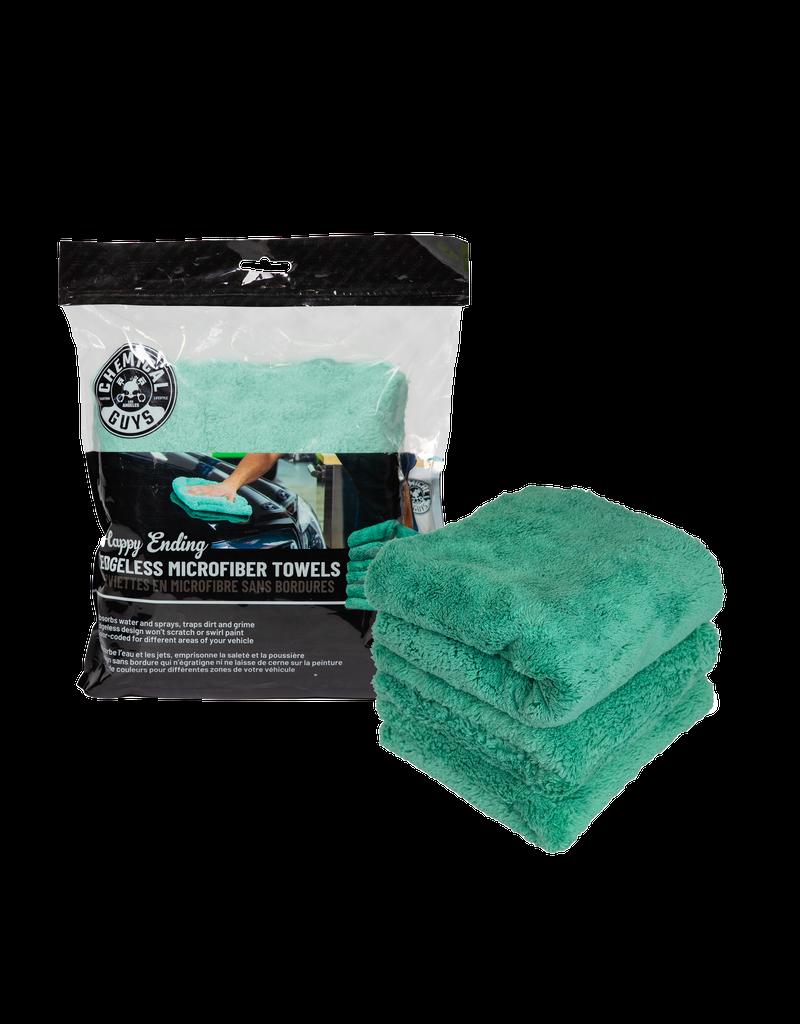 Chemical Guys MIC34603 Happy Ending Ultra Plush Edgeless Microfiber Towel, Green 16'' x 16'' (3 Pack)