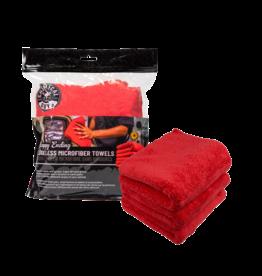 Chemical Guys Happy Ending Ultra Plush Edgeless Microfiber Towel, Red 16'' x 16'' (3 Pack)