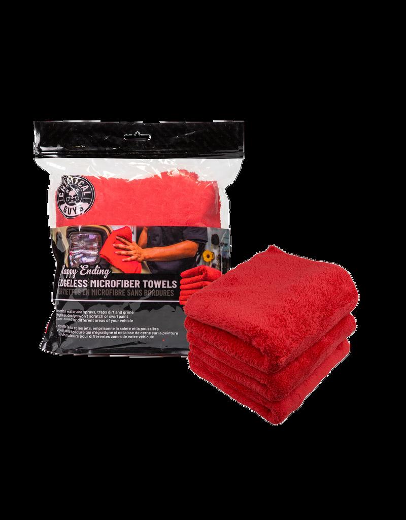 Chemical Guys MIC34103 Happy Ending Ultra Plush Edgeless Microfiber Towel, Red 16'' x 16'' (3 Pack)