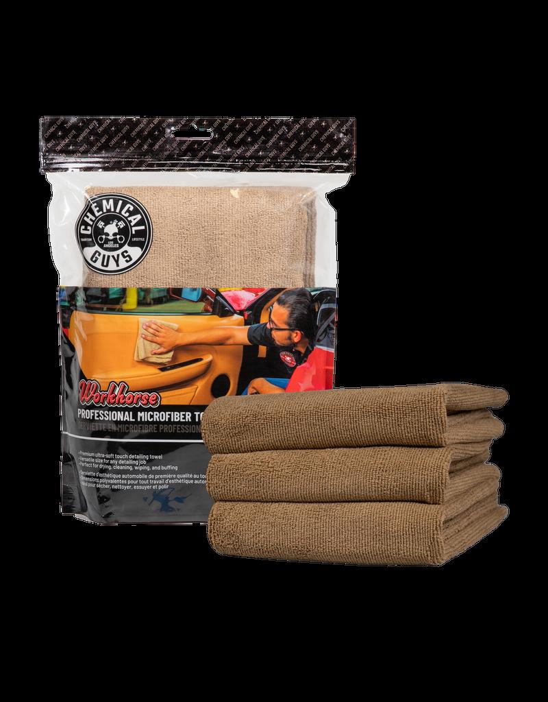 Chemical Guys MIC34403 Workhorse Professional Microfiber Towel, Tan 16'' x 16'' (3 Pack)