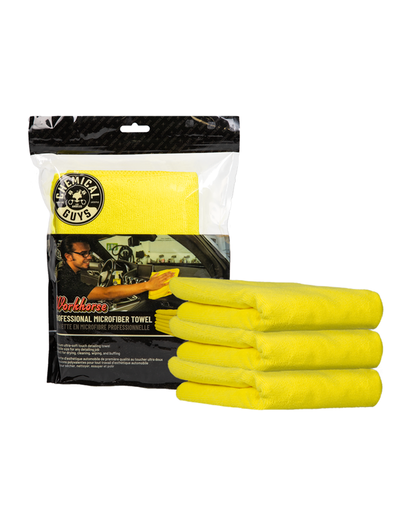 Chemical Guys MICYELLOW03 Workhorse Professional Microfiber Towel, Yellow 16'' x 16'' (3 Pack)