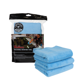 Chemical Guys Workhorse Professional Microfiber Towel, Blue 16'' x 16'' (3 Pack)