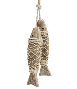 WALL HANGING WOODEN FISH IN NET