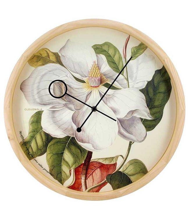 BOTANICAL MAGNOLIA WALL CLOCK