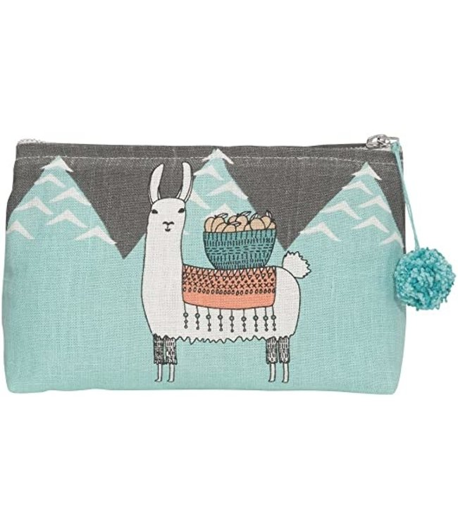 LLAMARAMA LINEN COSMETIC BAG