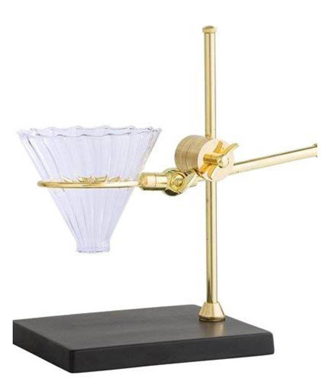 GOLD AND GLASS COFFEE DRIP STAND