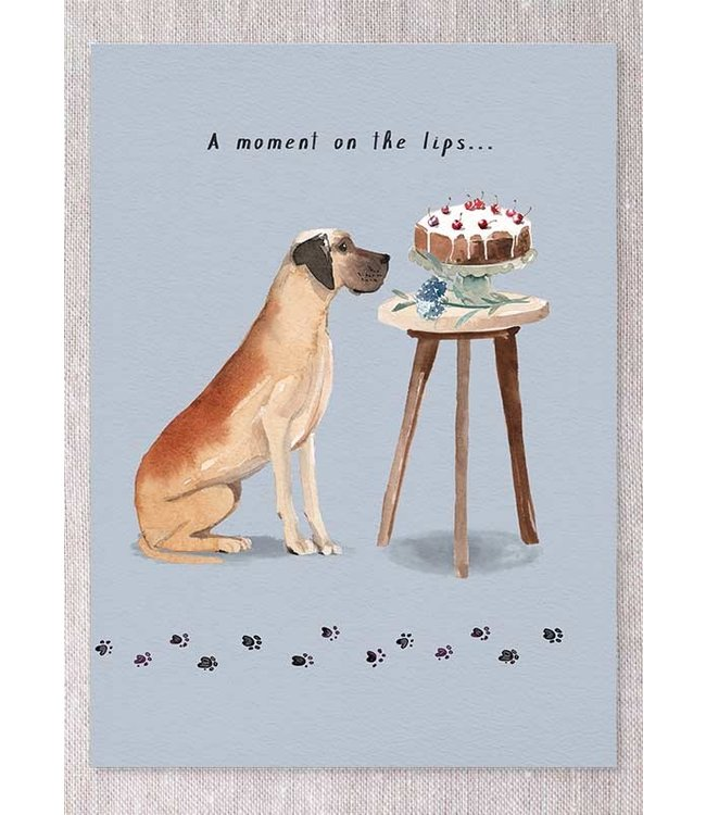 GREAT DANE WITH CAKE