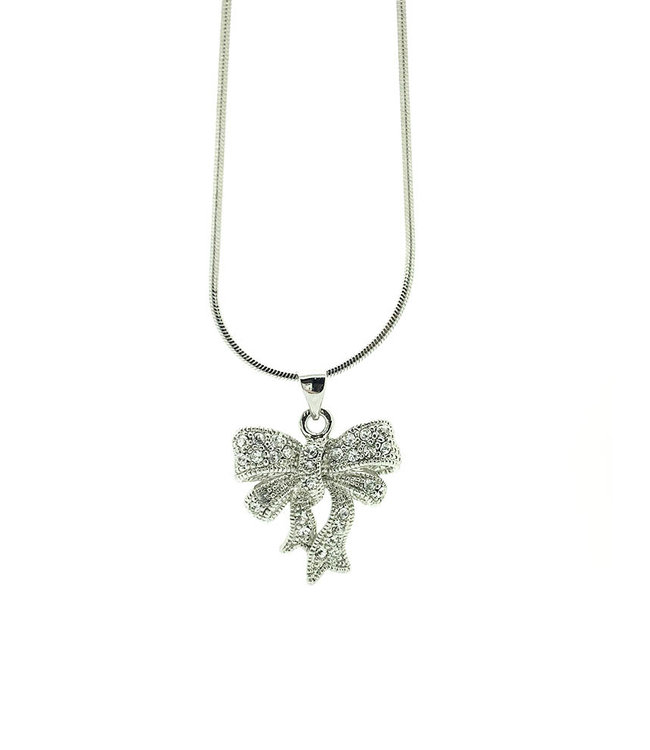 RHODIUM PLATED NECKLACE WITH RIBBON