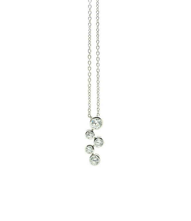 RHODIUM PLATED SILVER NECKLACE WITH CLUSTER
