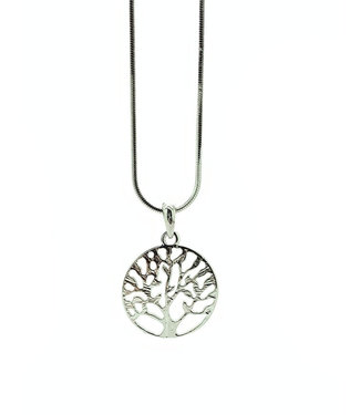RHODIUM PLATED NECKLACE WITH TREE