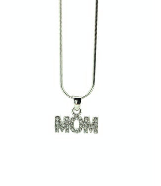 RHODIUM PLATED NECKLACE WITH MOM