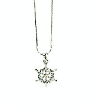 RHODIUM PLATED NECKLACE WITH SHIP WHEEL