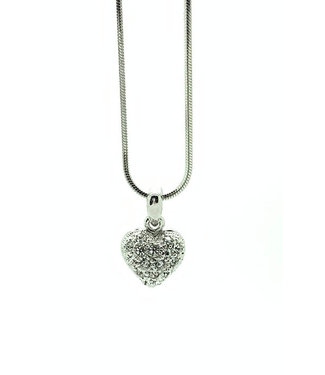 RHODIUM PLATED NECKLACE WITH HEART