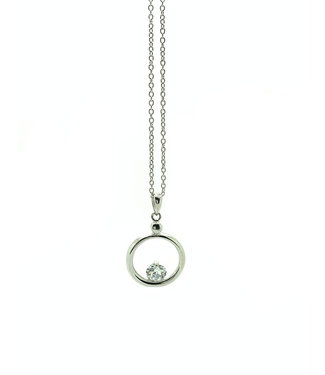 RHODIUM PLATED SILVER NECKLACE WITH CIRCLE