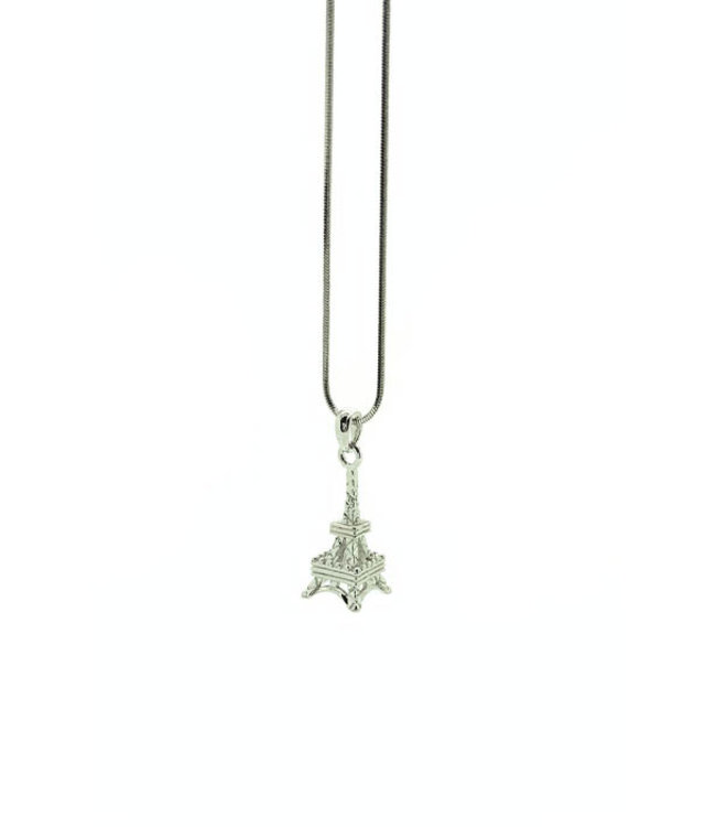 RHODIUM PLATED NECKLACE WITH EIFFEL