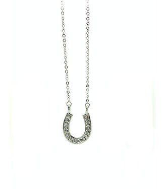 RHODIUM PLATED SILVER NECKLACE WITH HOOP