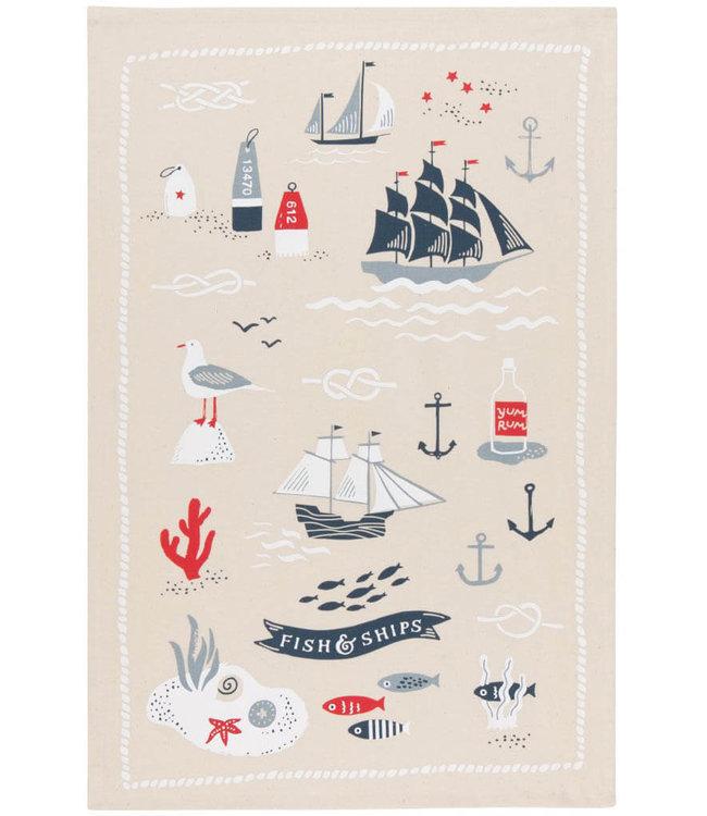 FISH AND SHIPS TEA TOWEL SET