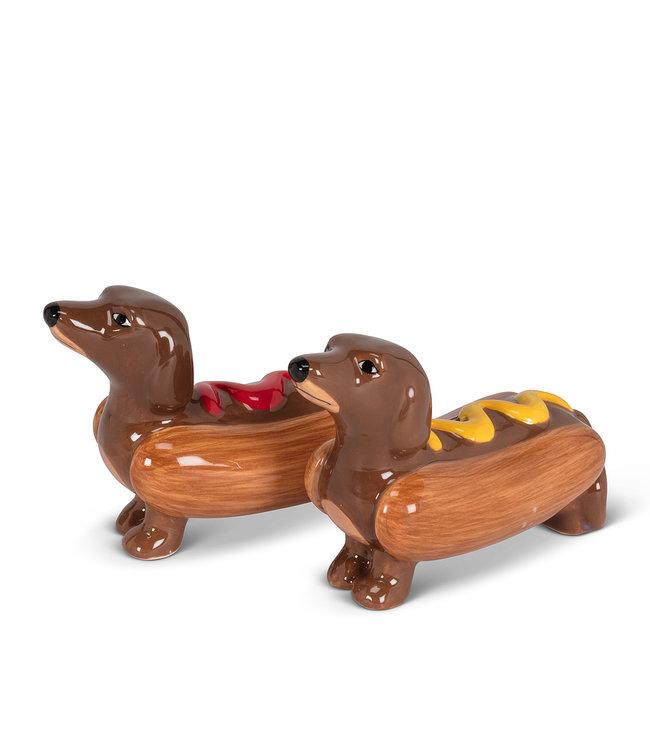 DACHSHUNDS IN HOT DOGS SALT & PEPPER SHAKER SET