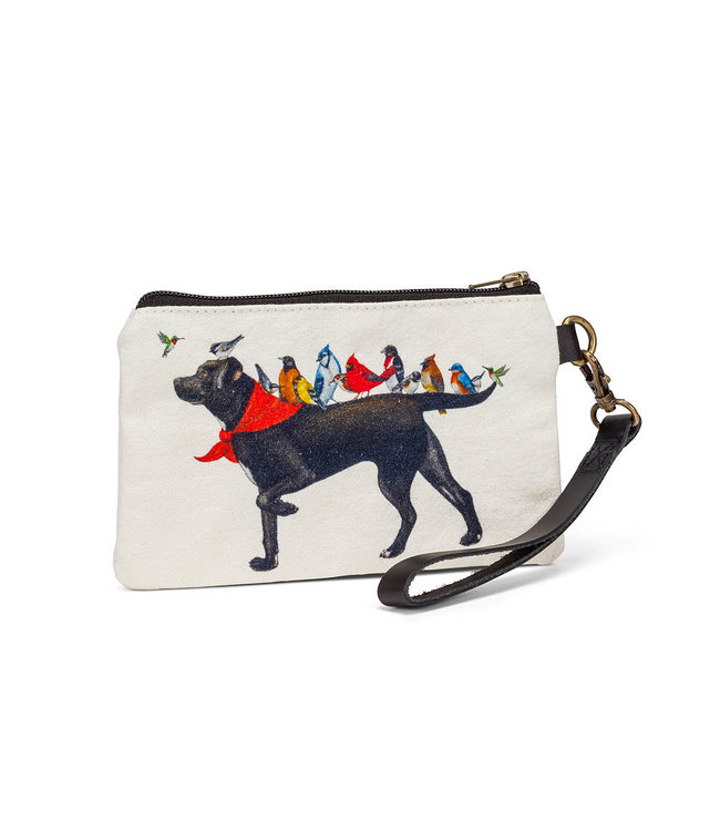 DOG WITH BIRDS ZIP POUCH WITH STRAP