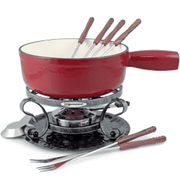 Swissmar Lugano 9pc Cast Iron Fondue Set, Red