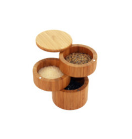 Totally Bamboo 3-Tier Bamboo Salt Box with Magnetic Swivel Lids