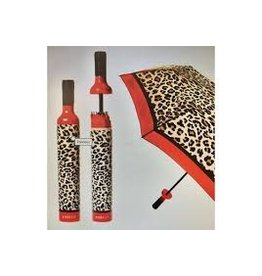 Vinrella Wine Bottle Umbrella - Leopard-red
