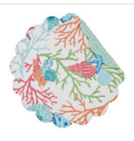 C and F Home Placemat Caribbean Splash, Round Reversible