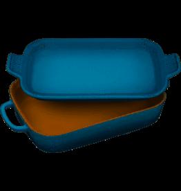 Le Creuset Stoneware Rect Dish w Platter Lid Marine 2.75Qt 14.75x9