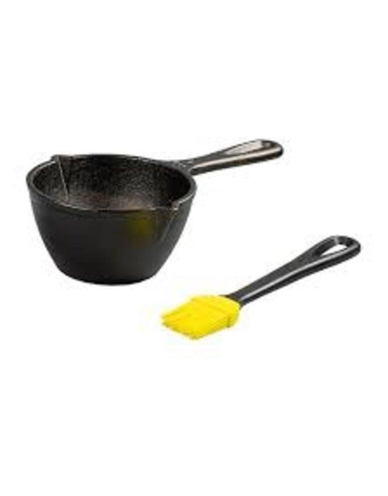 Lodge Cast Iron Melting Sauce Pot, Preseasoned, with Silicone Basting Brush ciw