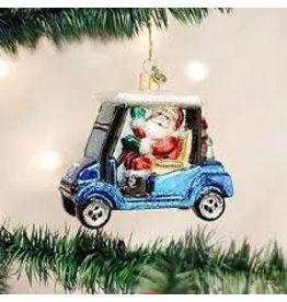 Old World Christmas Golf Cart Santa Ornament disc
