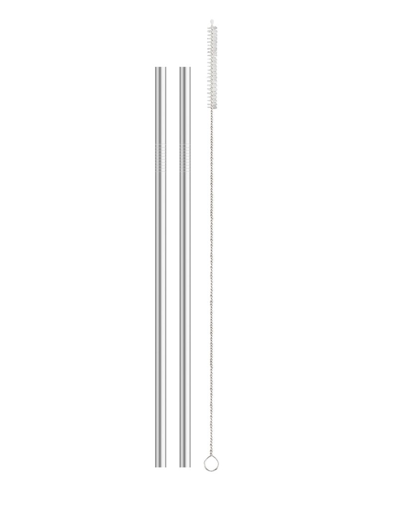 Harold Imports HIC Stainless Reusable Straws Set of 4 with cleaner