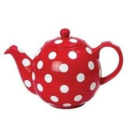 Now Designs Teapot, Red with White Spots Globe 2 Cup
