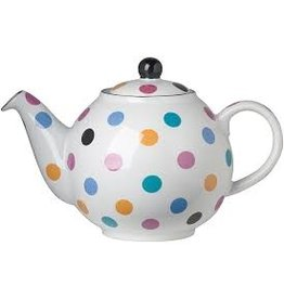 Now Designs Teapot, White with MultiColor Spots Globe 2 Cup