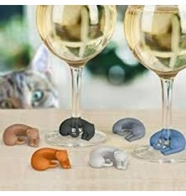 Fred Wine Lives Cat Wine Markers Set of 6 disc