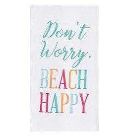 C and F Home Towel Beach Happy, floursack DISC