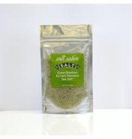 SALT Sisters Green Bamboo KA'NANI Hawaiian Sea Salt, coarse 4oz disc