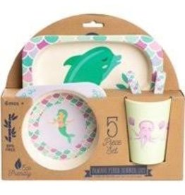 Core Home 5 Pc Bamboo Kids Dining Set - Mermaid