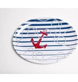 GalleyWare Melamine Oval Platter, Dockside Anchor 16''