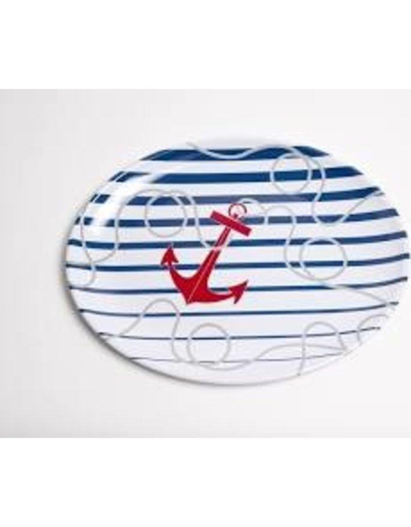 GalleyWare Melamine Oval Platter, Dockside Anchor 16''