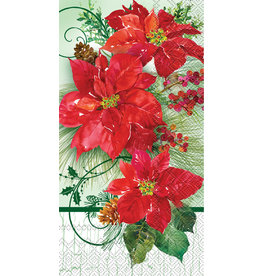 Boston International Holiday Guest Towel, Poinsettia Crackle DISC